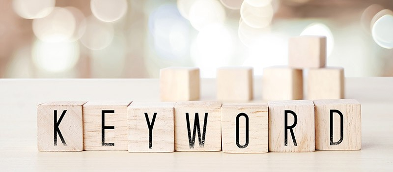 Keyword spelled out in blocks. Keywords are the main building block for your SEO.